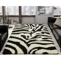 Ottomanson Soft Shag Black and White Zebra Print Area Rug - 5' x 7'