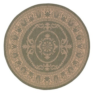 Recife Antique Medallion/ Green Natural Area Rug (8'6 Round)
