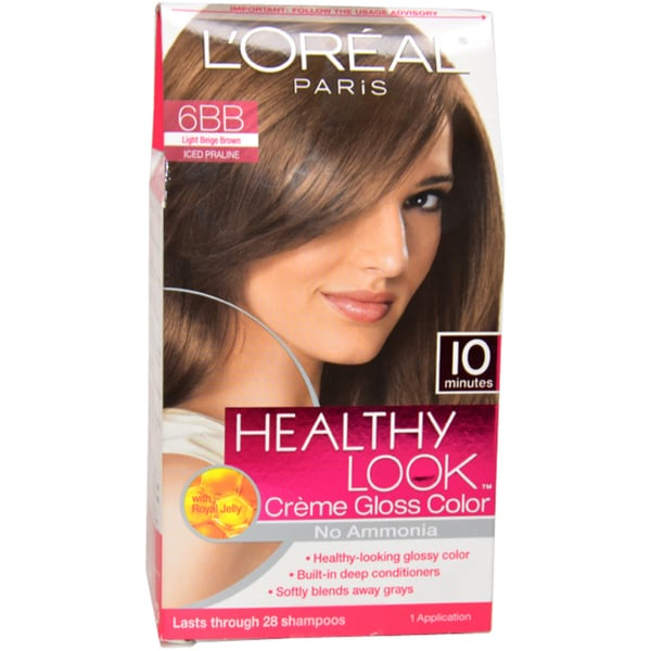 loreal healthy look creme gloss color 6bb light beige brown hair color - L Oral Gloss Color