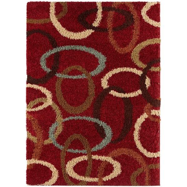 Red Ovals Cumin Contemporary Shag Rug (7'10 x 9'10)