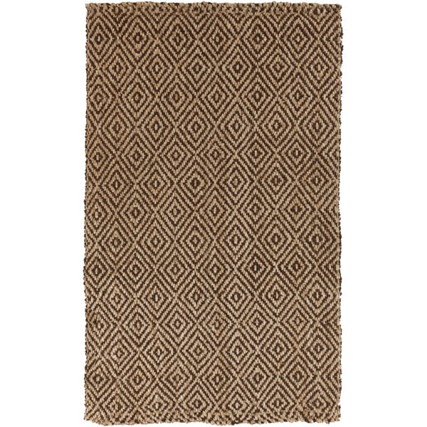 Hand-woven Diamond Jute Coffee Bean Natural Fiber Area Rug (2' x 3')