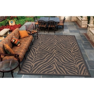Power-Loomed Pergola Cape Black/Cocoa Polypropylene Rug (8'6 x 13')