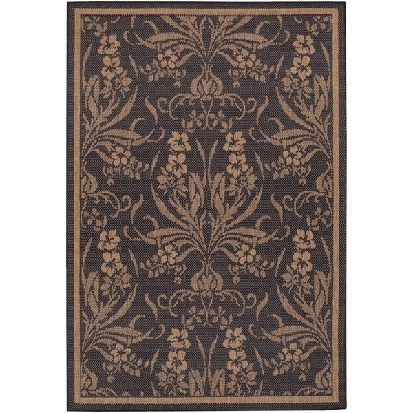 Couristan Recife Garden Cottage/Black-Cocoa Indoor/Outdoor Area Rug - 5'3 x 7'6