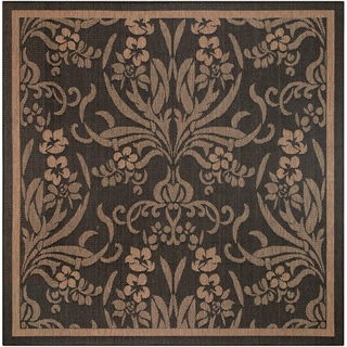"Pergola Cottage Black-Cocoa Indoor/Outdoor Square Rug - 7'6"" Square"