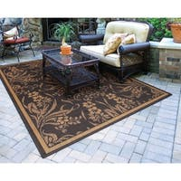 "Recife Garden Cottage Black-Cocoa Indoor/Outdoor Rug - 7'6"" x 10'9"""