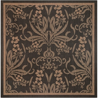 Recife Garden Cottage Black/ Cocoa Rug (8'6 x 8'6)