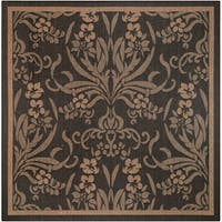 "Couristan Recife Garden Cottage Black-Cocoa Indoor/Outdoor Square Rug - 8'6"" square"