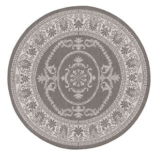 Power-Loomed Pergola Emblem Grey/White Polypropylene Rug (7'6 Round)