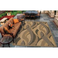 Pergola Lotus Natural-Black Indoor/Outdoor Area Rug - 3'9 x 5'5