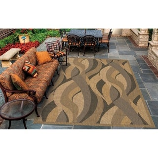 Pergola Lotus Natural-Black Indoor/Outdoor Area Rug - 5'3 x 7'6
