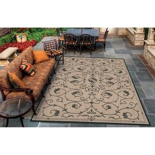 "Pergola Savannah Cocoa-Black Indoor/Outdoor Area Rug - 2' x 3'7"""