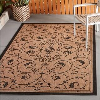 Pergola Savannah Cocoa-Black Indoor/Outdoor Area Rug - 3'9 x 5'5