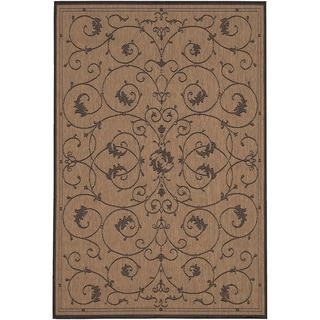 Power-Loomed Pergola Savannah Cocoa/Black Polypropylene Rug (5'10 x 9'2)