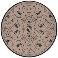 Pergola Savannah Cocoa/Black Indoor/Outdoor Round Rug - 7'6 x 7'6