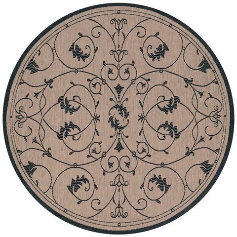 """Pergola Savannah Cocoa-Black Indoor/Outdoor Round Rug - 7'6"""" Round"""