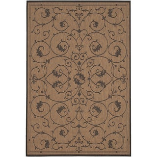 Power-Loomed Pergola Savannah Cocoa/Black Polypropylene Rug (7'6 x 10'9)