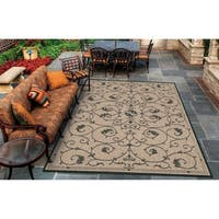 Pergola Savannah Cocoa-Black Indoor/Outdoor Area Rug - 7'6 x 10'9
