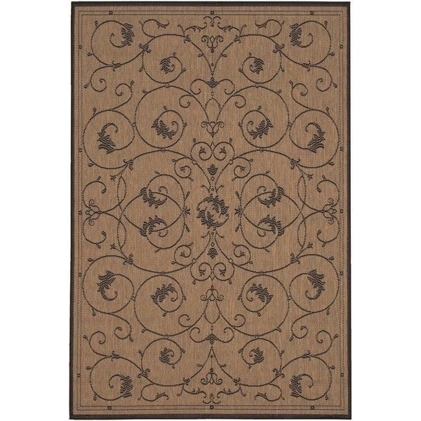 Pergola Savannah Cocoa-Black Indoor/Outdoor Area Rug - 7'6 x 10'9