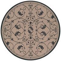 Pergola Savannah Cocoa/Black Indoor/Outdoor Round Rug - 8'6 x 8'6
