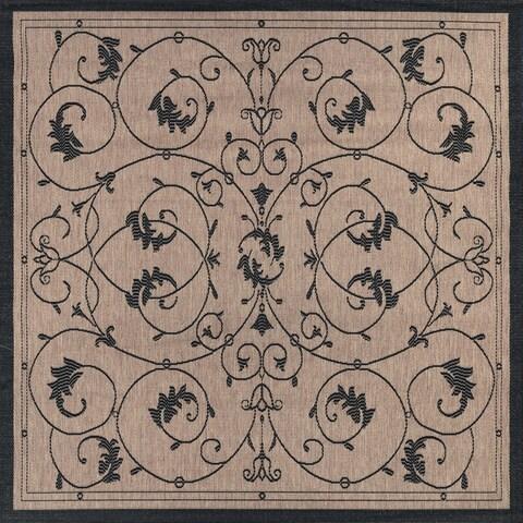 """Pergola Savannah Cocoa-Black Indoor/Outdoor Square Rug - 8'6"""" Square"""