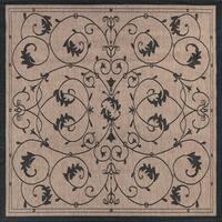 Pergola Savannah Cocoa/Black Indoor/Outdoor Square Area Rug - 8'6 x 8'6