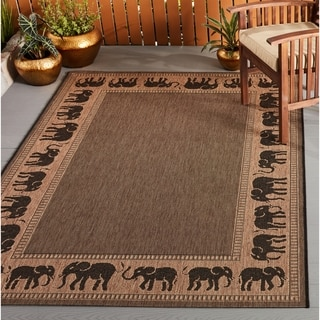 "Pergola Global Cocoa-Black Indoor/Outdoor Area Rug (3'9 x 5'5) - 3'9"" x 5'5"""