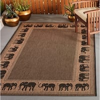 Pergola Global Cocoa-Black Indoor/Outdoor Area Rug - 3'9 x 5'5