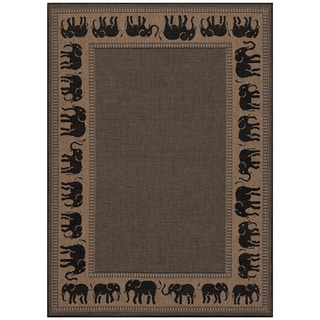 Power-Loomed Pergola Global Cocoa/Black Polypropylene Rug (5'3 x 7'6) (As Is Item)