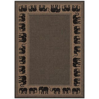 Power-Loomed Pergola Global Cocoa/Black Polypropylene Rug (5'3 x 7'6)