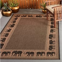 Pergola Global Cocoa-Black Indoor/Outdoor Area Rug - 5'3 x 7'6