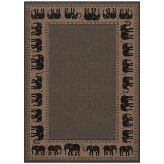 Power-Loomed Pergola Global Cocoa/Black Polypropylene Rug (5'10 x 9'2)