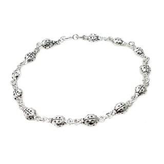 Sterling Silver Charming Ladybug Link Bracelet (Thailand)