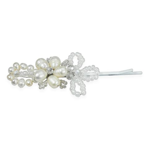 Handmade Charming and Alluring Floral Freshwater Pearl Hair Clip (Thailand)