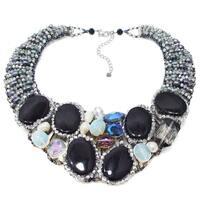 Handmade Midnight Sensation Mix Stone Collar Necklace (Thailand)