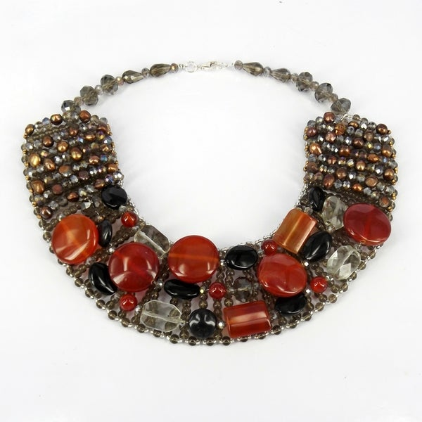 Handmade Exquisite Charm Mix Stone Autumn Collar Necklace (Thailand)