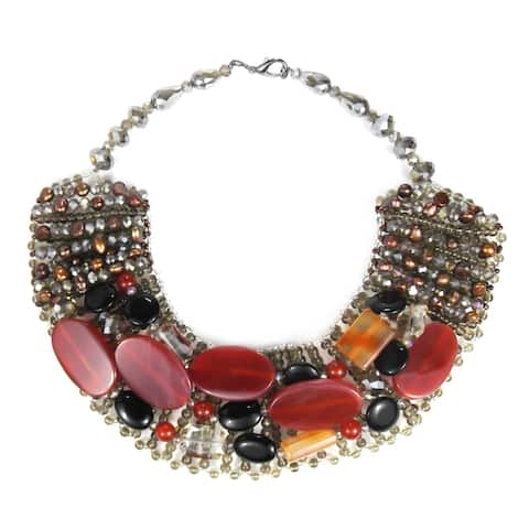Handmade Exquisite Charm Mix Stone Autumn Collar Necklace (Thailand)
