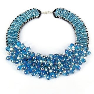 Handmade Sparkling Blue Glamour Freshwater Pearls Beaded Necklace (Thailand)