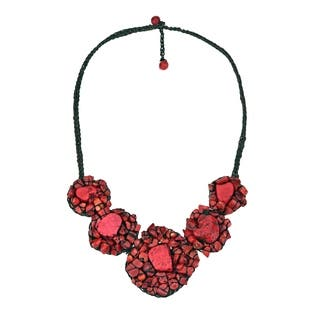 Handmade Chic Mosaic Beauty Turquoise Embellished Necklace (Thailand)|https://ak1.ostkcdn.com/images/products/7717169/P15121425.jpg?impolicy=medium