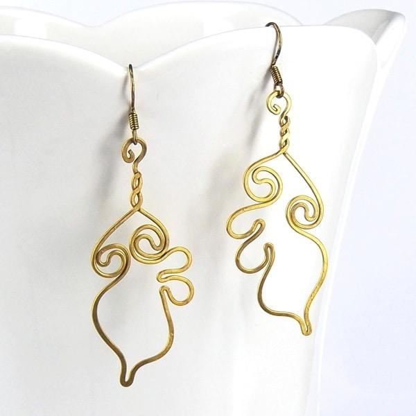 Ethereal Swirls Brass Dangle Handmade Earrings (Thailand)