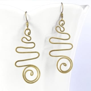 Spiral Illusion Brass Dangle Handmade Earrings (Thailand)