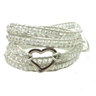 Handmade Tribal Romance Crystals Heart Five Wrap Bracelet (Thailand)