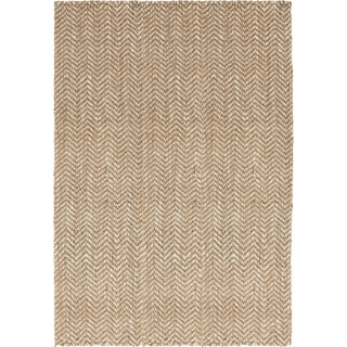 Hand-Woven Wheat Jute Tan Natural Fiber Chevron Rug (5' x 8')