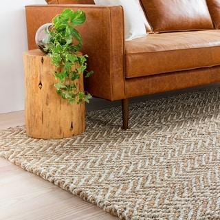 Hand-Woven Wheat Jute Tan Natural Fiber Chevron Area Rug - 5' x 8'