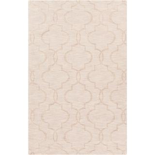 Hand-crafted Orange Geometric Lattice Vols Geometric Wool Area Rug - 8' x 11'/Surplus