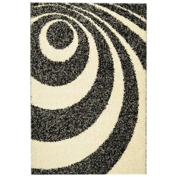 Ottomanson Soft Shag Contemporary Abstract Circles Ivory Rug (6'7 x 9'3)