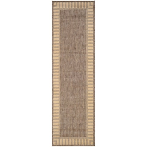 Recife Wicker Stitch Cocoa/ Natural Runner Rug - 2'3 x 11'9