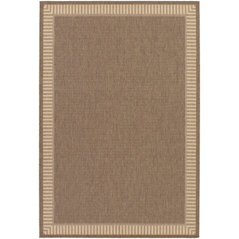 Recife Wicker Stitch Cocoa/ Natural Runner Rug - 2'3 x 7'10