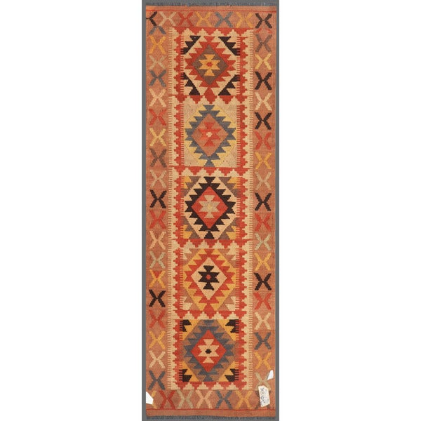 Afghan Hand-knotted Mimana Kilim Light Brown/ Ivory Wool Rug (1'11 x 6'4)