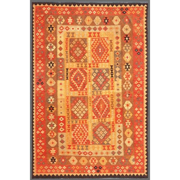 Afghan Hand-knotted Mimana Kilim Salmon/ Ivory Wool Rug (6'11 x 10'4)