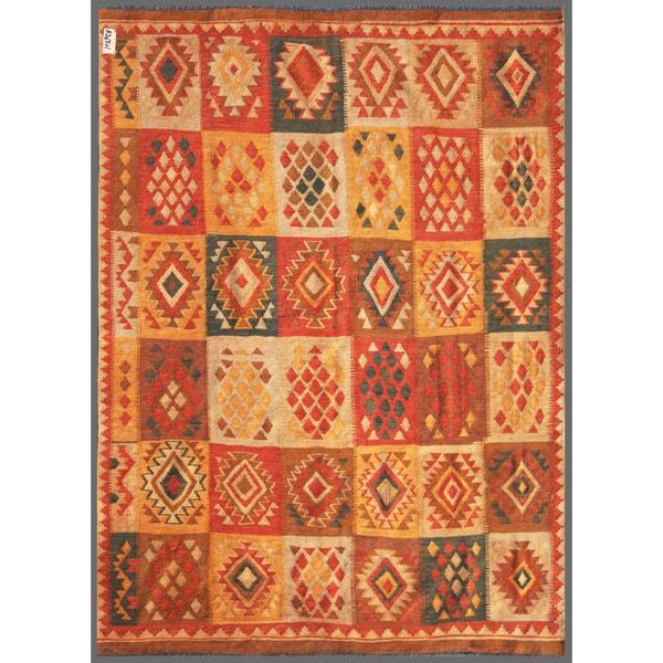 Afghan Hand-knotted Mimana Kilim Beige/ Ivory Wool Rug (6' x 8'2)
